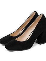 Недорогие -Жен. Комфортная обувь Микроволокно Весна Обувь на каблуках На толстом каблуке Черный / Красный / Розовый