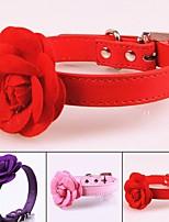 abordables -Chiens Colliers Portable / Rétractable / Chiens & Chats Couleur Pleine / Fleur Cuir PU / Cuir polyuréthane Violet / Rouge / Rose