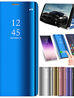 Недорогие -Кейс для Назначение OnePlus OnePlus 6 / One Plus 6T со стендом / Покрытие / Зеркальная поверхность Чехол Однотонный Твердый Кожа PU для OnePlus 6 / One Plus 6T