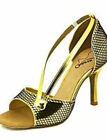 baratos -Mulheres Sapatos de Dança Latina Couro Ecológico Salto Salto Alto Magro Sapatos de Dança Roxo / Vermelho Escuro / Azul / Espetáculo / Ensaio / Prática