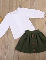 billiga -Bebis Flickor Streetchic / Sofistikerat Helgdag / Utekväll Enfärgad Långärmad Normal Normal Bomull / Polyester Klädesset Grön 100 / Småbarn