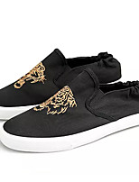 Недорогие -Муж. Комфортная обувь Полотно / Полиуретан Осень На каждый день Мокасины и Свитер Нескользкий Контрастных цветов Черный / Черный / Красный / Черный / Желтый