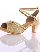 abordables -Femme Chaussures Latines Cuir Verni Talon Fantaisie Talon Cubain Personnalisables Chaussures de danse Or