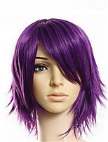 billiga -Syntetiska peruker Herr Rak Lila Asymmetrisk frisyr Syntetiskt hår 20 tum Ung Lila Peruk Korta Utan lock Ljus Lila