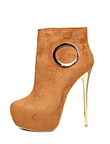 cheap -Women's Boots Stiletto Heel Round Toe Sexy Party & Evening Suede Booties / Ankle Boots Black / Brown