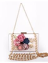 Недорогие -Жен. Мешки PU Вечерняя сумочка Цветы Красный / Розовый / Миндальный