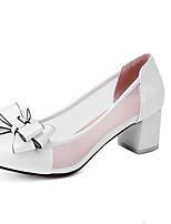 Недорогие -Жен. Комфортная обувь Полиуретан Весна Обувь на каблуках На толстом каблуке Белый / Синий / Розовый / Свадьба / Повседневные