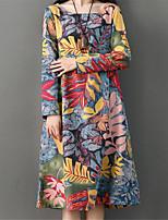 baratos -Mulheres Vintage Evasê Vestido - Estampado Médio