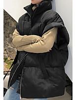 Недорогие -Жен. Повседневные Классический Однотонный Обычная Пуховик, Полиэфир Без рукавов Воротник-стойка Синий / Черный S / M / L