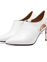 Недорогие -Жен. Балетки Наппа Leather Осень / Зима Обувь на каблуках На шпильке Белый / Черный