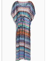 Недорогие -Жен. Классический Погруженный декольте Синий Пляжные шорты Накидка Купальники - Геометрический принт Один размер / Сексуальные платья