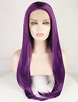 Недорогие -Синтетические кружевные передние парики Жен. Естественные волны / Естественный прямой Фиолетовый Свободная часть 180% Человека Плотность волос Искусственные волосы 18-26 дюймовый / Лента спереди