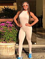 billiga -Dam Yoga Suit - Vit, Svart sporter Ensfärgat Hög midja Kroppsdräkt Yoga Sportkläder Sportflex, 4-vägs sträcka Elastisk Smal
