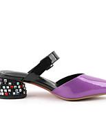 Недорогие -Жен. Комфортная обувь Наппа Leather Лето Обувь на каблуках На толстом каблуке Лиловый / Желтый / Красный