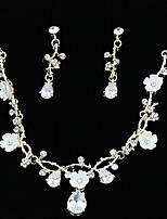 billiga -Dam Guld Kristall Klassisk Smyckeset - Oäkta pärla Gypsophila Lyx Omfatta Halsband Pann-smycken Guld Till Bröllop Party