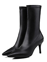 baratos -Mulheres Fashion Boots Pele Napa Verão Botas Salto Agulha Branco / Preto