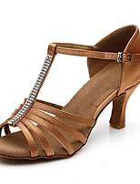 abordables -Femme Chaussures Latines Satin Sandale / Talon Strass / Boucle / Dentelle Talon Bobine Personnalisables Chaussures de danse Marron