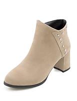 baratos -Mulheres Fashion Boots Couro Ecológico Outono & inverno Botas Salto Robusto Botas Curtas / Ankle Preto / Bege / Marron