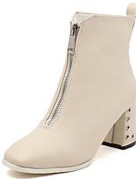 Недорогие -Жен. Fashion Boots Полиуретан Наступила зима На каждый день Ботинки Блочная пятка Заостренный носок Ботинки Черный / Бежевый