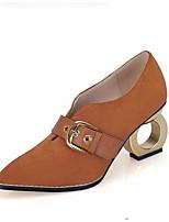 abordables -Femme Chaussures de confort Peau de mouton Eté Chaussures à Talons Talon Plat Noir / Brun Foncé