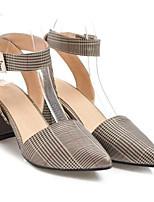 Недорогие -Жен. Комфортная обувь Полиуретан Лето Обувь на каблуках На толстом каблуке Золотой / Серебряный / Синий