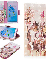 Недорогие -Кейс для Назначение Huawei Mate 10 lite / Huawei Mate 20 Pro Кошелек / Бумажник для карт / со стендом Чехол Кот Твердый Кожа PU для Huawei Nova 3i / Huawei P Smart Plus / Honor 7A