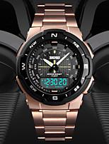 Недорогие -SKMEI Муж. Спортивные часы Цифровой 50 m Защита от влаги Календарь С двумя часовыми поясами Нержавеющая сталь Группа Аналого-цифровые На каждый день Мода Черный / Серебристый металл / Золотистый -