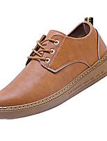 Недорогие -Муж. Комфортная обувь Полиуретан Осень Деловые Туфли на шнуровке Доказательство износа Черный / Миндальный