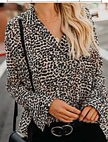 abordables -T-shirt ample en coton pour femmes, taille plus - col en léopard