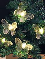 Недорогие -1,2 м Гирлянды 10 светодиоды Тёплый белый Декоративная Аккумуляторы AA 1 комплект