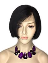 Недорогие -Натуральные волосы Лента спереди Парик Бразильские волосы Бирманские волосы Прямой Парик Стрижка боб 130% Плотность волос Женский Лучшее качество Горячая распродажа Нейтральный Жен. Короткие