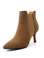 Недорогие -Жен. Fashion Boots Замша Лето Ботинки На шпильке Закрытый мыс Ботинки Черный / Коричневый / Телесный