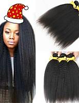 Недорогие -6 Связок Бразильские волосы Вытянутые 8A Натуральные волосы Человека ткет Волосы Пучок волос One Pack Solution 8-28 дюймовый Нейтральный Естественный цвет Ткет человеческих волос Машинное плетение