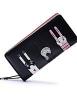 Недорогие -Жен. Мешки PU Бумажники Молнии Мультипликация Розовый / Миндальный / Небесно-голубой