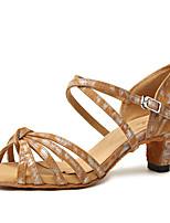 abordables -Fille Chaussures Latines Faux Cuir Talon Fantaisie Talon Plat Chaussures de danse Rose / Chameau / Brun Foncé