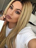billiga -Syntetiska peruker Rak Blond Middle Part Syntetiskt hår 24INCH Justerbar / Värmetåligt / Klassisk Blond / Nyans Peruk Dam Lång Utan lock Svart och guld / Ja