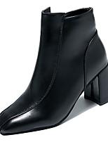 Недорогие -Жен. Fashion Boots Полиуретан Осень На каждый день Ботинки На толстом каблуке Сапоги до середины икры Черный / Винный