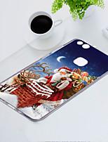 baratos -Capinha Para Huawei P10 Lite Anti-poeira / Ultra-Fina / Estampada Capa traseira Natal Macia TPU para P10 Lite