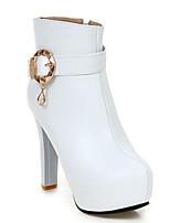 Недорогие -Жен. Fashion Boots Полиуретан Зима Ботинки На толстом каблуке Закрытый мыс Ботинки Черный / Бежевый / Розовый