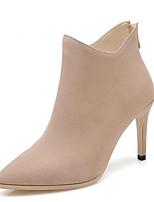 Недорогие -Жен. Fashion Boots Замша Осень Ботинки На шпильке Закрытый мыс Ботинки Черный / Серый / Миндальный