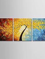 Недорогие -Hang-роспись маслом Ручная роспись - Цветочные мотивы / ботанический Modern холст / 3 панели