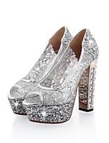 abordables -Femme Chaussures de confort Matière synthétique Printemps Chaussures à Talons Talon Bottier Or / Noir / Argent