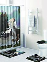 Недорогие -1 комплект Мультяшная тематика Коврики для ванны 100 г / м2 полиэфирный стреч-трикотаж Животное Прямоугольная Ванная комната Творчество
