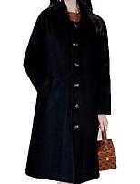 Недорогие -Жен. Пальто Уличный стиль - Однотонный