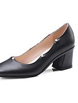 Недорогие -Жен. Комфортная обувь Наппа Leather Весна Обувь на каблуках На толстом каблуке Белый / Черный / Коричневый