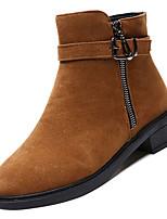 Недорогие -Жен. Fashion Boots Полиуретан Осень Минимализм Ботинки На низком каблуке Круглый носок Ботинки Черный / Коричневый