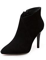 Недорогие -Жен. Fashion Boots Замша Осень Ботинки На шпильке Закрытый мыс Ботинки Черный / Серый / Военно-зеленный