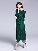 Недорогие -Жен. Винтаж / Шинуазери (китайский стиль) Прямое Платье - Цветочный принт, Вышивка Средней длины