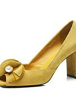 Недорогие -Жен. Комфортная обувь Замша Весна Обувь на каблуках На толстом каблуке Желтый
