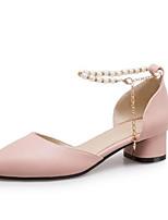 Недорогие -Жен. Комфортная обувь Полиуретан Лето Обувь на каблуках На толстом каблуке Белый / Розовый